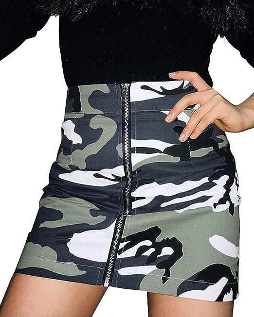 16a19ec9f ORANDESIGNE Mujer Verano Camuflaje Faldas Cintura Alta Vendimia Cremallera  Mini Falda Corta  Amazon.es  Ropa y accesorios