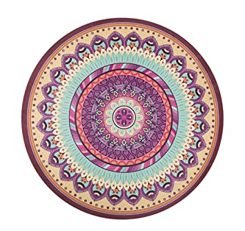 Hjhy Tapis De Yoga Rond Tapis De Méditation Rond Anti Dérapant