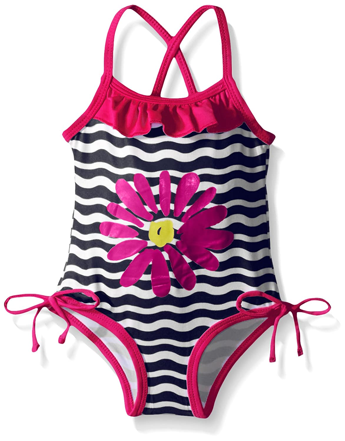 Pink Platinum Baby Girls' Big Flower and Wave Swimsuit PP669232
