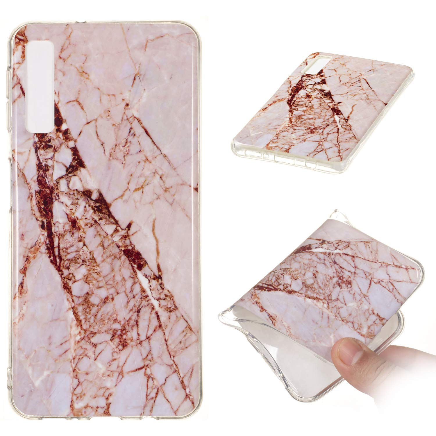 for Samsung Galaxy A7 2018 (A750) Marble Case with Screen Protector,Unique Pattern Design Skin Ultra Thin Slim Fit Soft Gel Silicone Case,QFFUN Shockproof Anti-Scratch Protective Back Cover - White