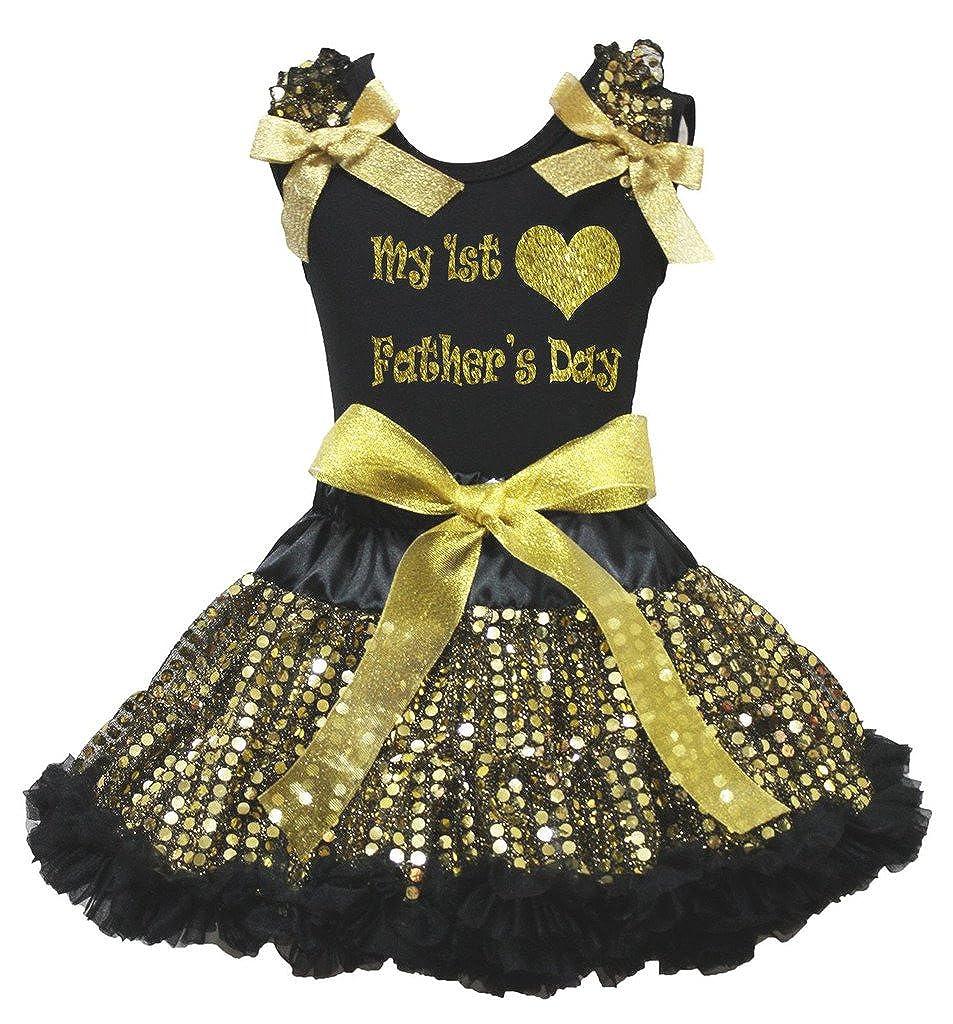 Petitebella Bling My Daddy is My Hero White Shirt Gold Stars Petal Skirt Nb-8y