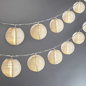 Mini Lantern String Lights - 20 White Nylon Hanging Lanterns with Warm White Bulbs Included, 13 Feet Long, Waterproof for Indoor/Outdoor Lighting, Plug in, Connectable up to 22 Strands
