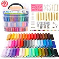 Polymer Clay, Shuttle Art 50 Colors 1.3 oz/Block Soft Oven Bake Modeling Clay Kit, 19 Tools and 10 Kinds of Accessories…