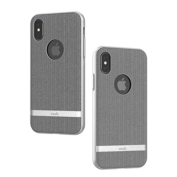 Moshi Vesta For I Phone Xs/I Phone X   Protective Fabric Case, Military Grade Drop Tested, Resists Dirt And Scratches,Wireless Charging (Herringbone Gray) by Moshi