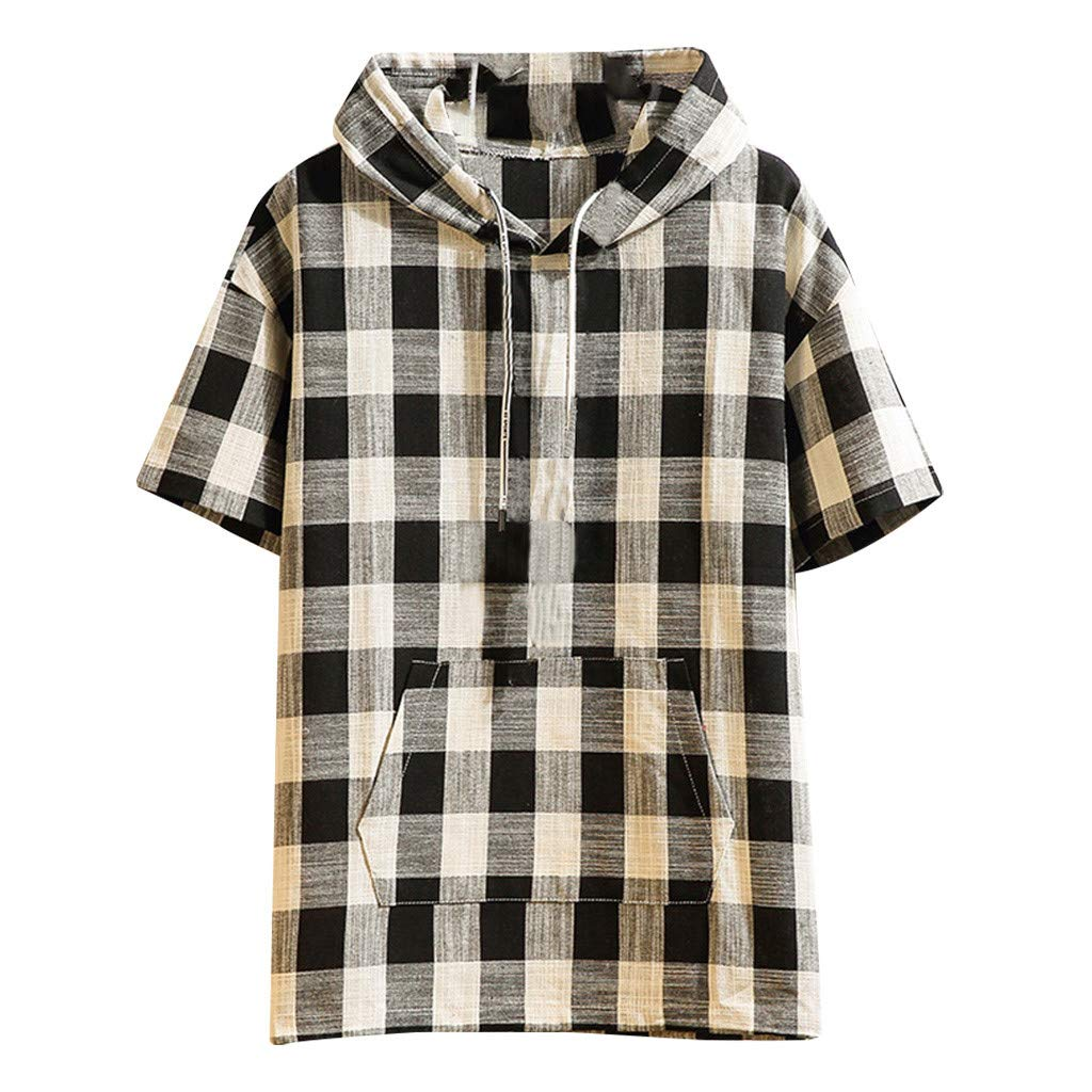 Men Hooded Shirt Casual Fashion Hipster Plaid Pullover Top Blouse with Pocket (2XL, Black)