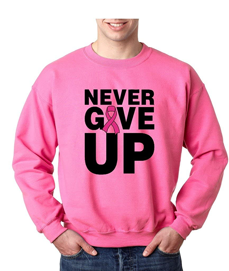 Never Give Up Fight With Cancer Crewneck Breast Cancer Awareness Sweatshirt