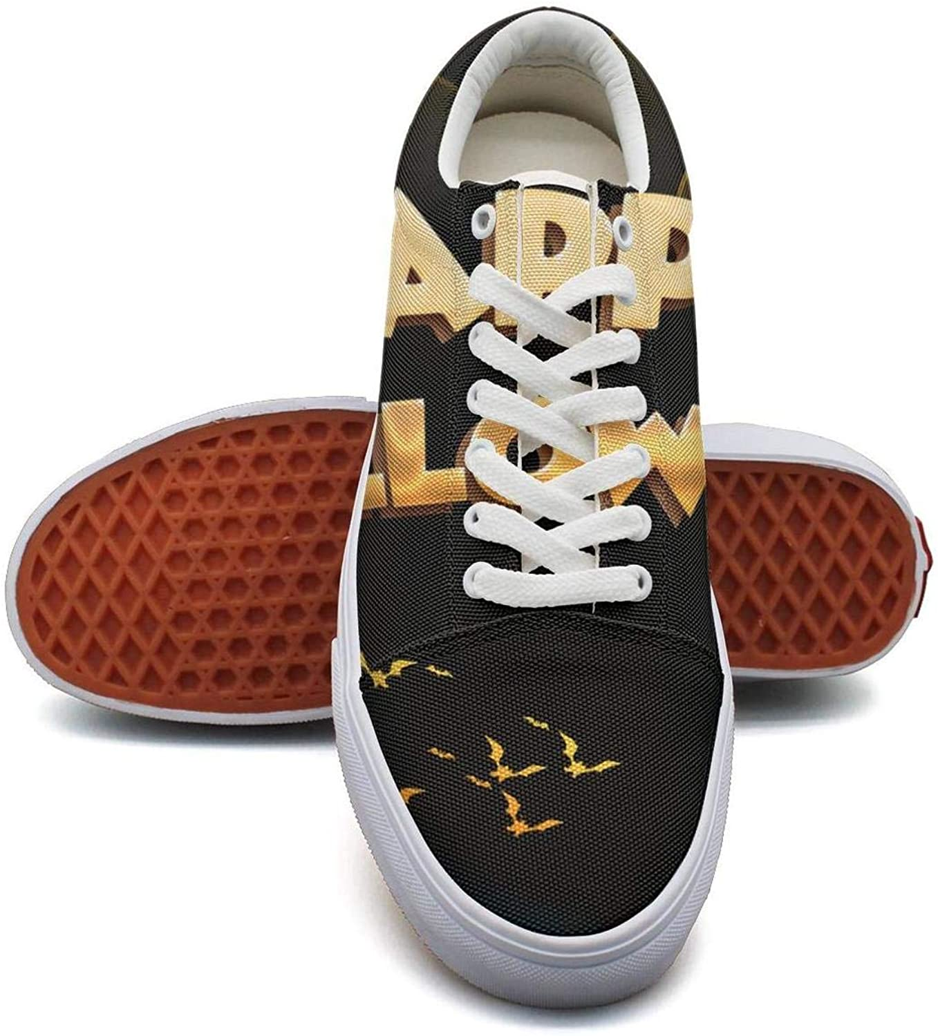 Womens Halloween Trick or Treat Pumpkin Witch Canvas Shoes Low-Cut StrapsLeisure Funky Sneakers Suitable for Walking