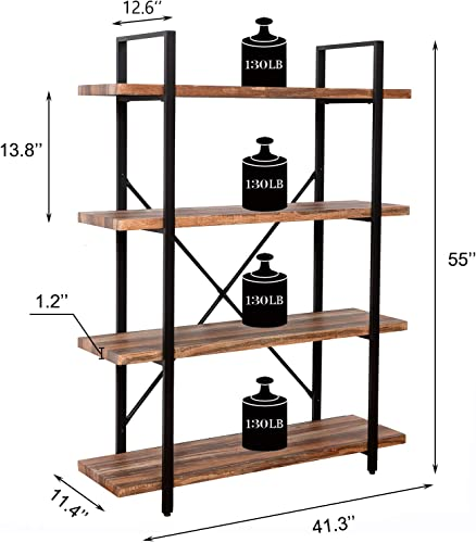 IRONCK Bookshelf and Bookcase 4-Tier