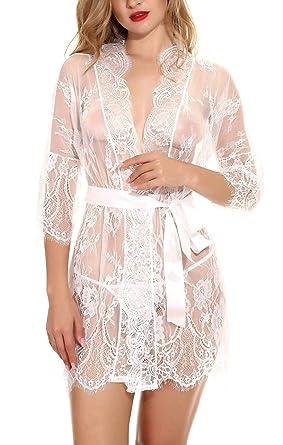 latest fashion discount shop quality products FEOYA - Femme Lingerie de Nuisette Transparente en Dentelle Chemise de Nuit  Manches Courtes avec Ceinture et G-String Grande Taille 5 Couleurs