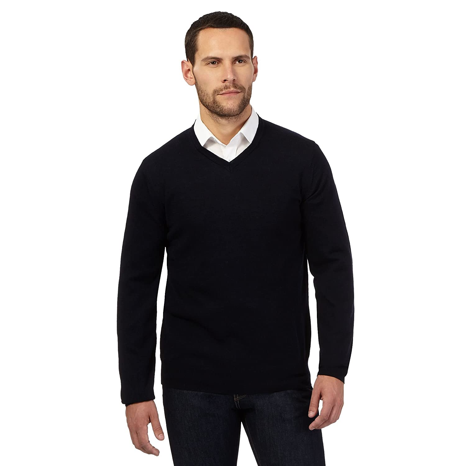 J By Jasper Conran Mens Big And Tall Navy Merino Wool V Neck Jumper