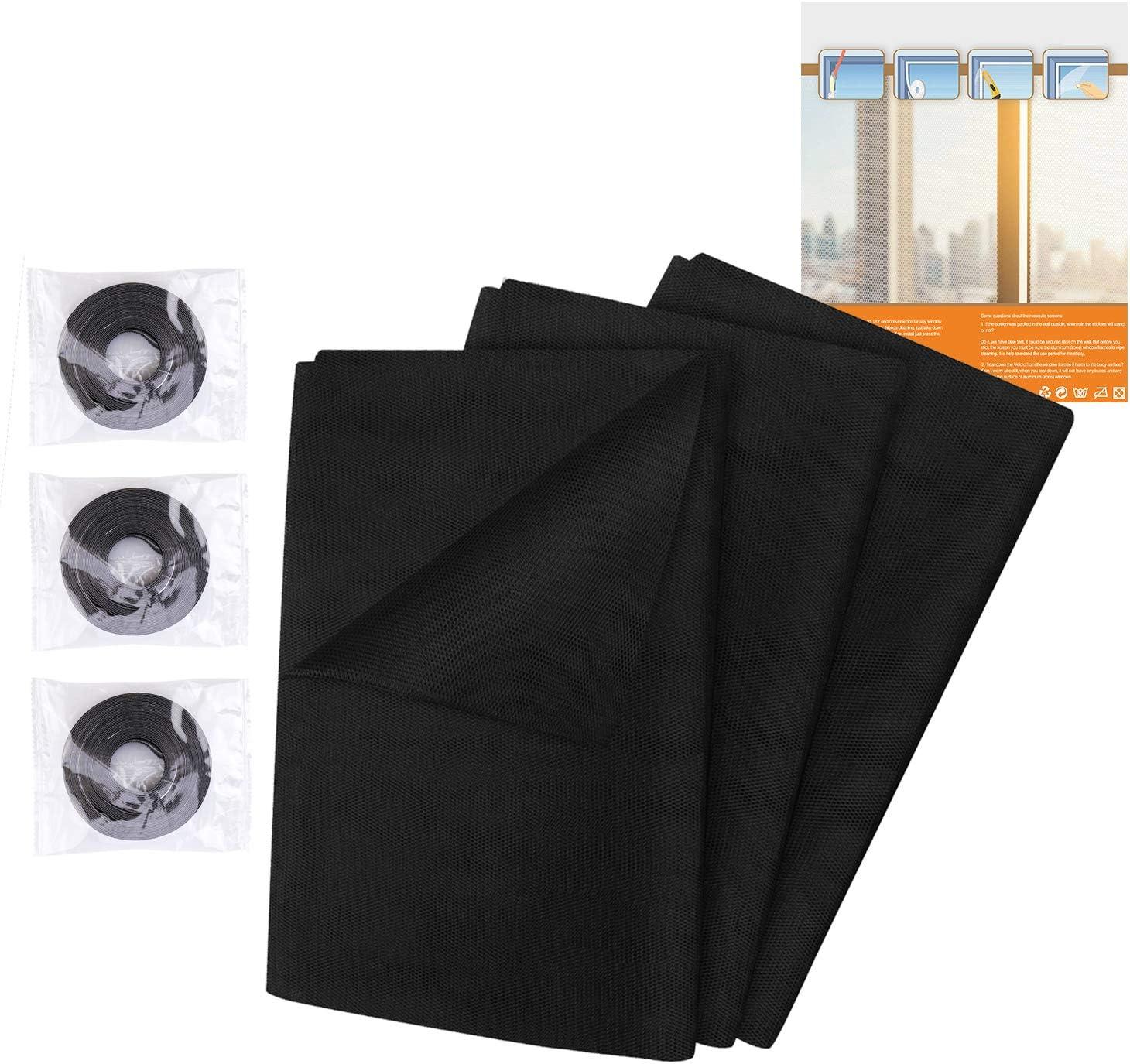 largo 10 mm Zanzariera a rete 3Pcs Zanzariera Finestra Zanzariera per Finestra 1.5m*1.3m Adesiva Net della finestra Protezione per le zanzare insetto ape 3 Nastro nero