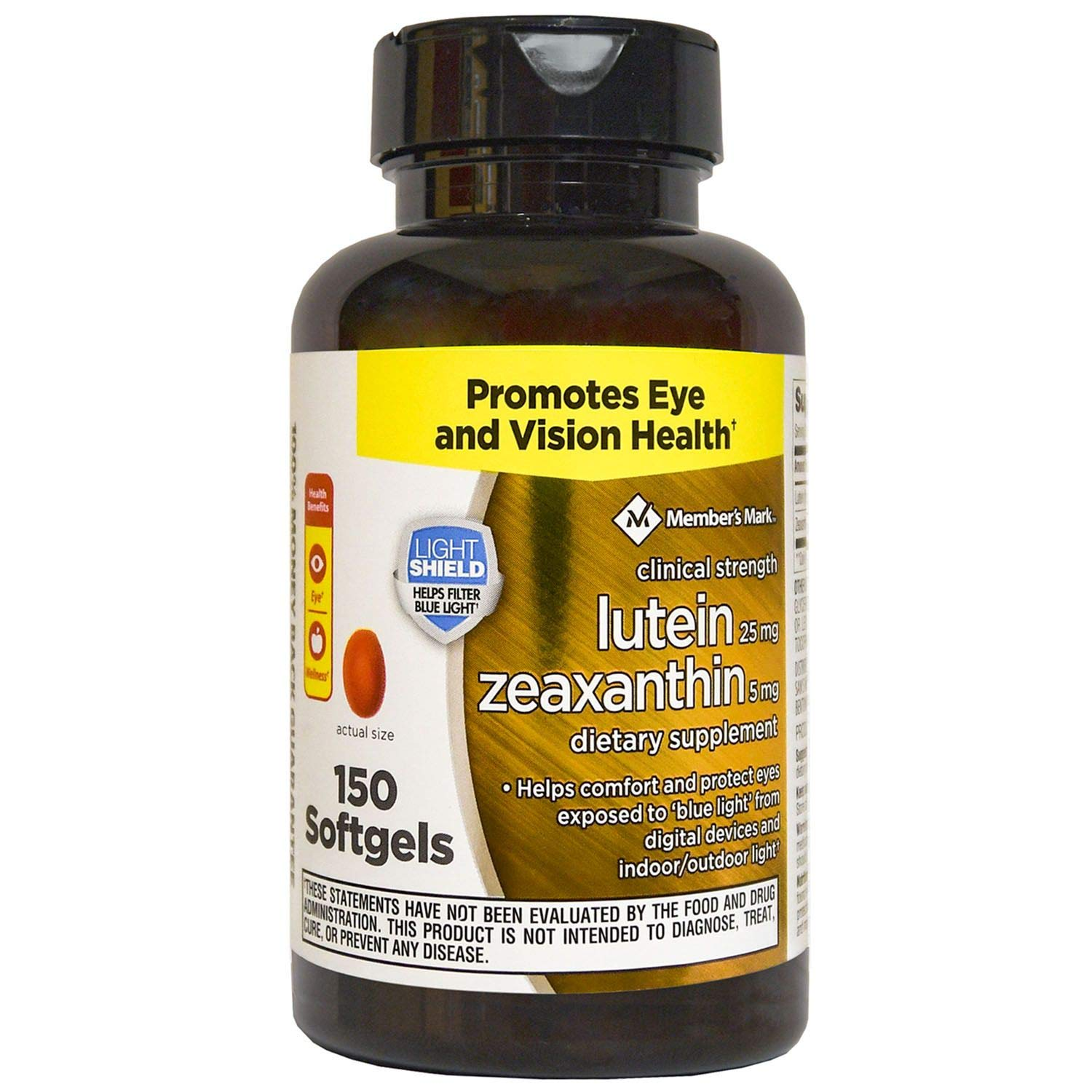 Member's Mark Lutein 25 mg and Zeaxanthin 5 mg, 150 Softgels by Members Mark