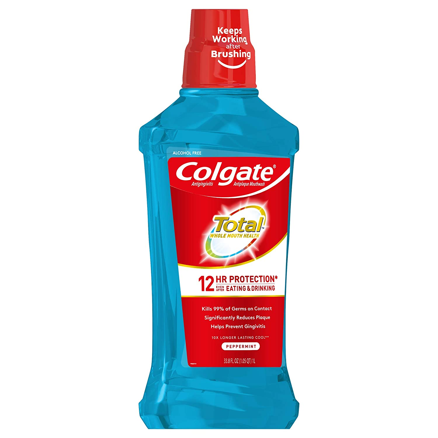 Colgate Total Alcohol Free Mouthwash for Bad Breath, Peppermint - 1L, 33.8 fluid ounce (3 Pack) : Beauty