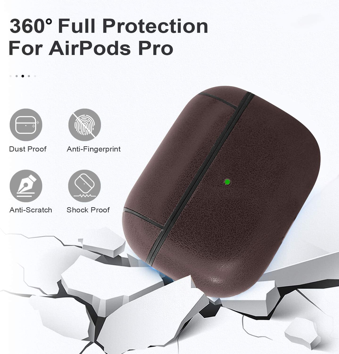 Brown Airpods 3 Leather Case Protective Cover with Keychain Airpods Strap Compatible with Apple Airpods Pro Charging Case 3rd Gen Front LED Visible for AirPods pro case Leather Men Women