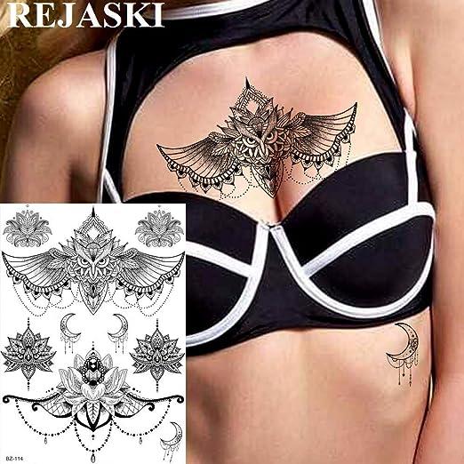 tzxdbh 2 Unids Owl Mandala Flor de Loto Tatuajes Temporales ...