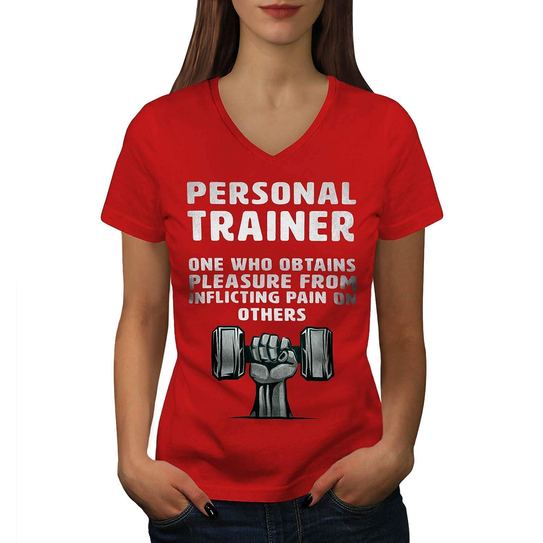 7b010c4e6 wellcoda Description Trainer Womens V-Neck T-Shirt, Funny Gym Casual Design  Tee at Amazon Women's Clothing store: