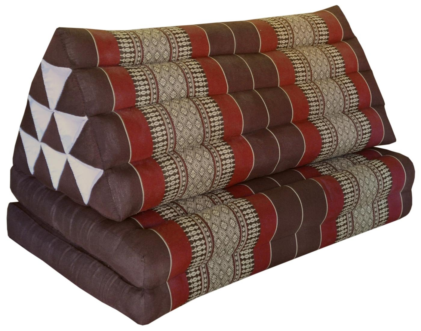Thai triangle cushion XXL, with 2 folding seats, brown/burgundy, sofa, relaxation, beach, pool, meditation, yoga, made in Thailand. (82517) by Wilai GmbH