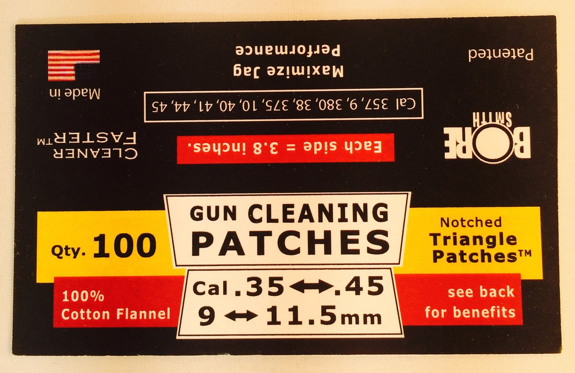 BoreSmith Triangle Patches, Cal 35 thru 58, Premium Gun Cleaning Patches, clamshell