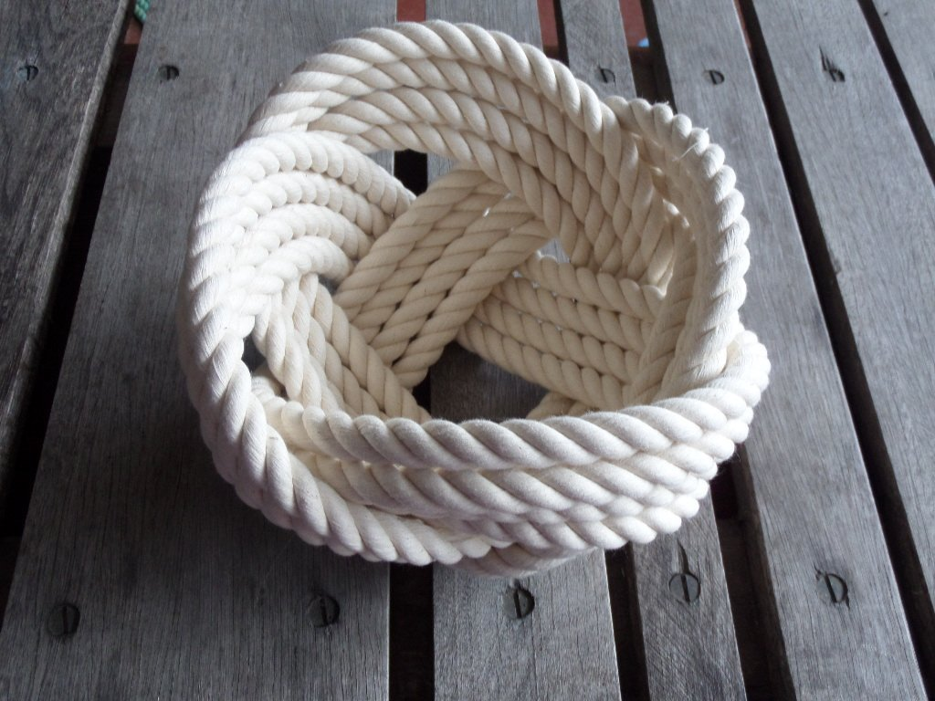 Decorative Knotted Cotton Rope Bowl 7 x 5 Off White Nautical Decor Knot