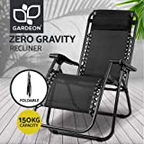 Zero Gravity Portable Reclining Lounge Folding Outdoor Camping Beach Chair Black