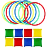 OOTSR 16pcs Nylon Bean Bags Plastic Rings Game Sets for Kids Ring Toss Game Booth Carnival Garden Backyard Outdoor Games…