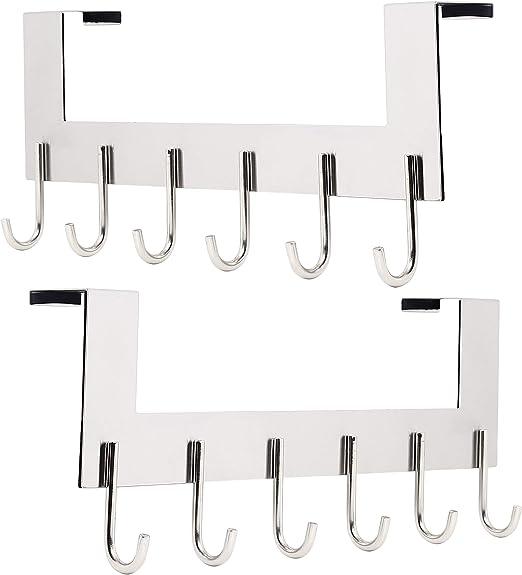 6 Hooks Hanger Over The Door Home Organizer Rack Clothes Coat Towel Hange