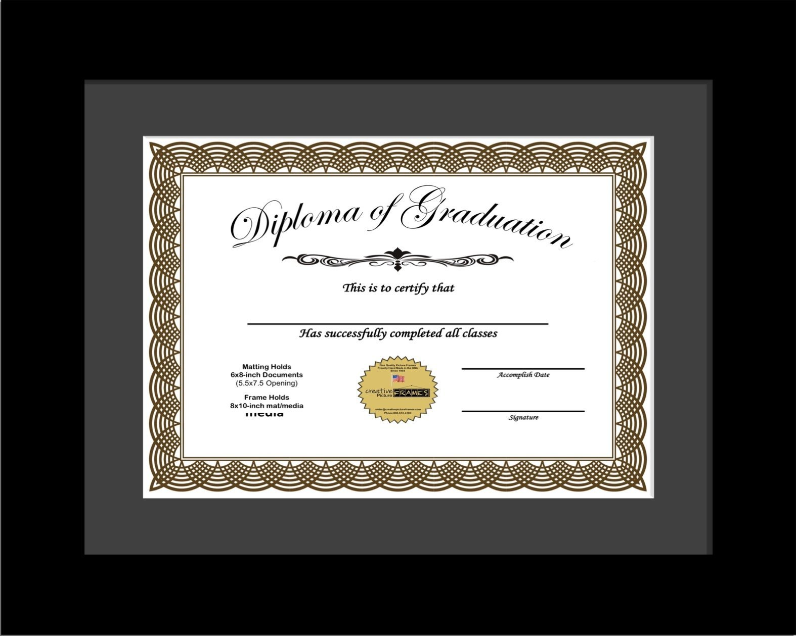 CreativePF [6x8-1-8x10bk-b] Black Diploma Frame with Black Matting   Holds 6x8-inch Documents with Stand and Wall Hanger