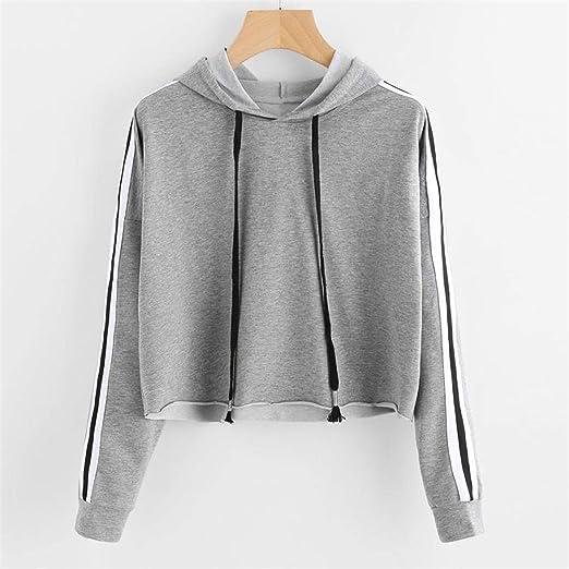Desirca Hoodies 2018 Autumn Women Hoodie Sweatshirt Patchwork Tracksuit Jumper Crop Tops Short Hooded Pullover Sweatshirt at Amazon Womens Clothing store: