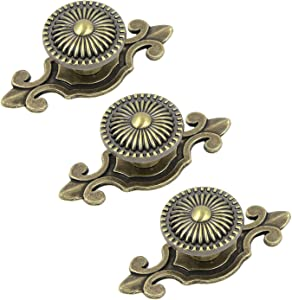 Mironey Ancient Bronze Cabinet Knobs with Backplates Zinc Alloy Drawer Pulls Handles Mushroom Shaped Furniture Pull Dresser Cupboard Door Knob with Screws Pack of 3