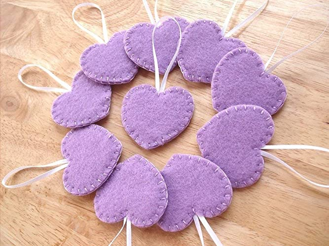 sports shoes 73a0c cf5ba Amazon.com: 10 lavender heart ornaments, purple felt ...