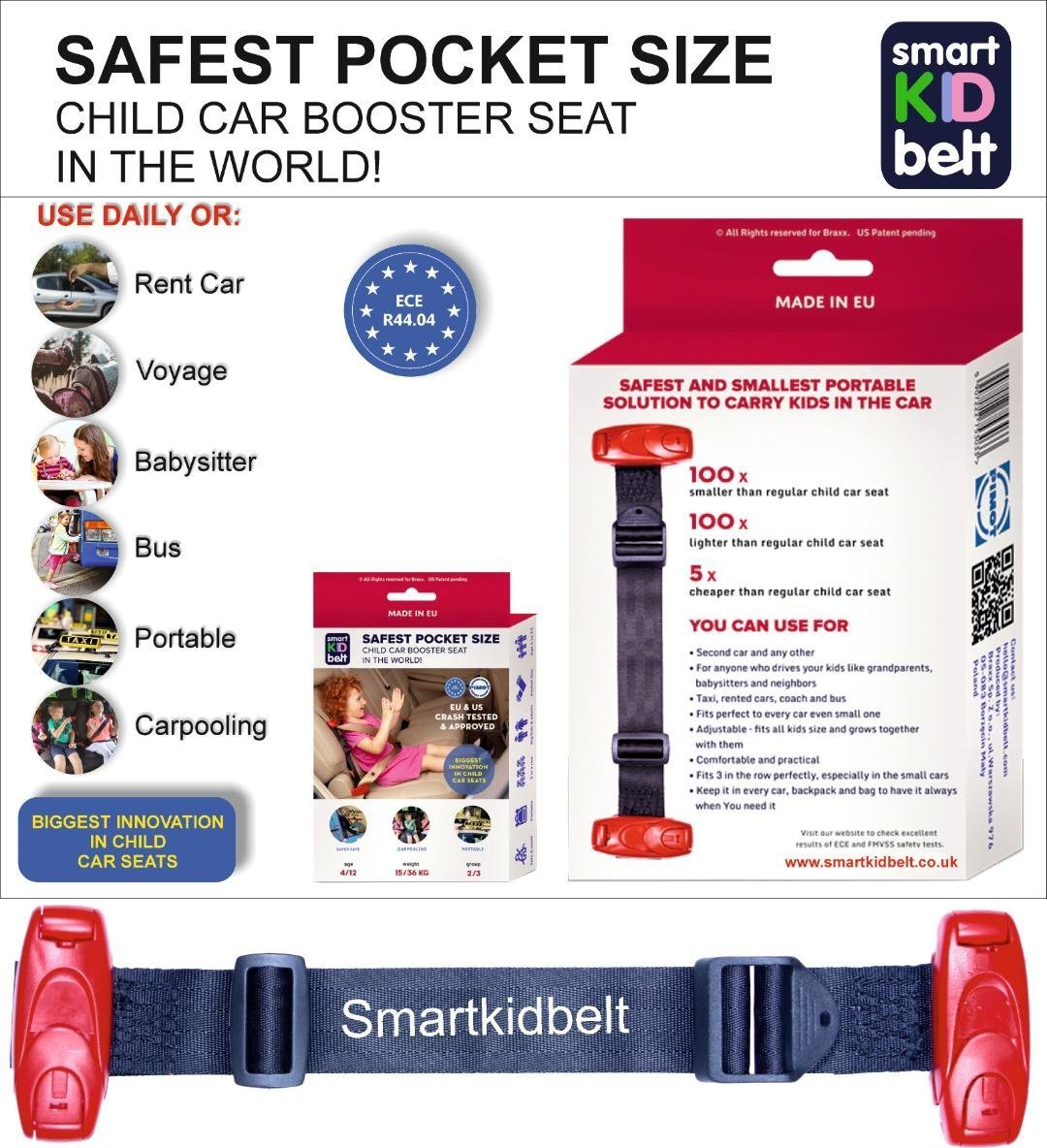 Smart Kid Belt Pocket Size Car Seat Booster Group 2 / 3 For Kids 4 - 12 Years Old EU ECE R44 Certified EU Road Legal