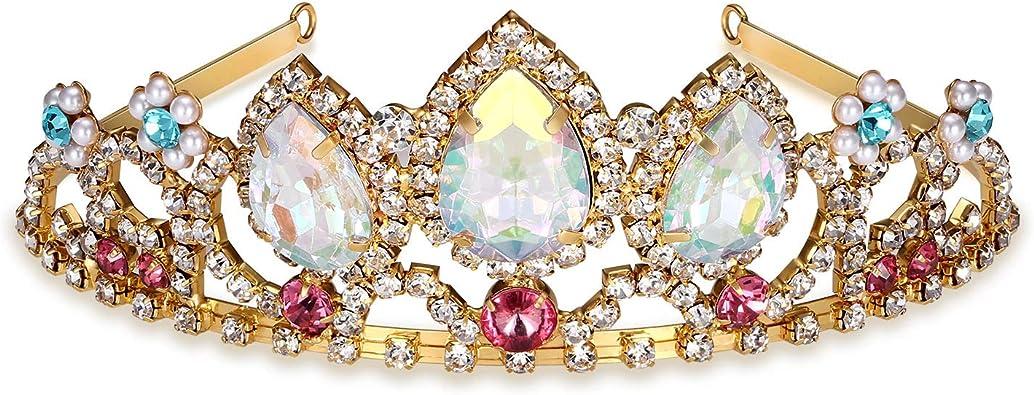 Kzslive Pretty Rapunzel Tiara Aurora Borealis Stone Sparkly Gold Tiara Princess Crown Tangled Costume Sweet Gift For Girls Amazon Co Uk Jewellery