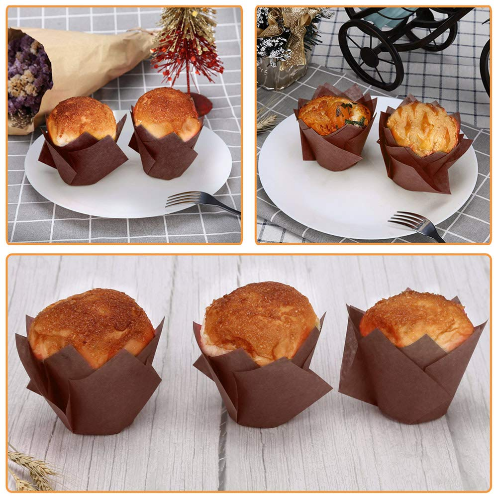 Amazon.com: Gifbera Brown Tulip Cupcake Liners Medium Baking Cups in Sweden Made Paper, Pack of 100: Kitchen & Dining