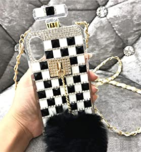 Losin Perfume Case Compatible with Apple iPhone 7 Plus/iPhone 8 Plus 5.5 in Luxury Bling Diamond Rhinestone Bow Perfume Bottle Furry Plush Ball Bling Glitter Gemstone Soft TPU Back Case with Lanyard