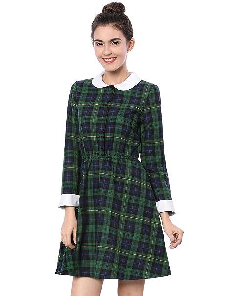 84cd7d2ffe1 Allegra K Women s Checked Contrast Peter Pan Collar Swing Skater Plaid A  Line Dress Green XS