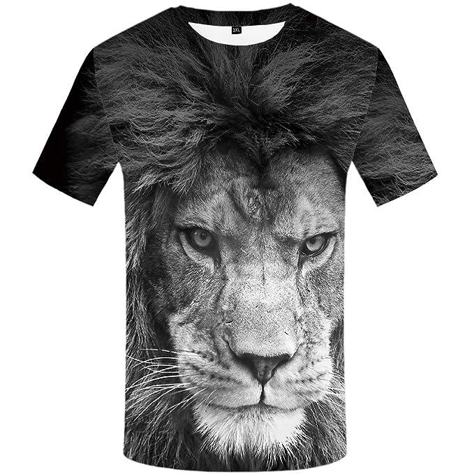 8cbf949875b8 KYKU Lion Tshirt Men Animal T-Shirts 3D Printed Shirts for Men Anime Shirt  Cool