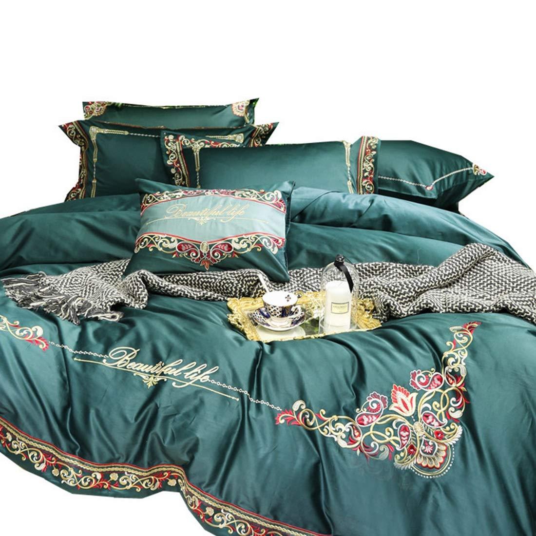 Kainuoo 4枚のシンプルなエメラルドピュアコットン寝具セット (Size : QUEEN) B07N837C62  Queen