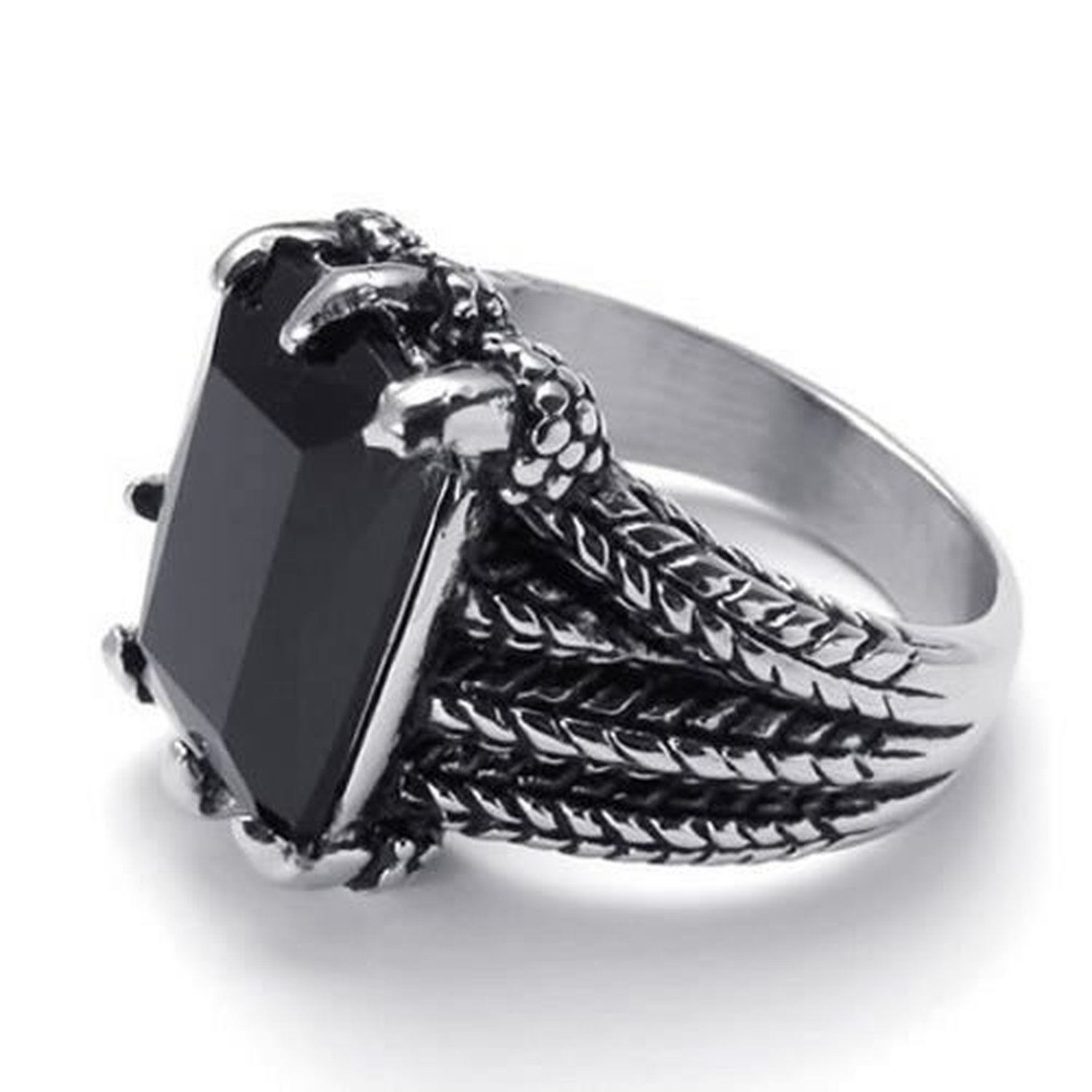 CLLSTORE Jewelry Biker Gothic Dragon Claw Stainless Steel Mens Ring Black Silver