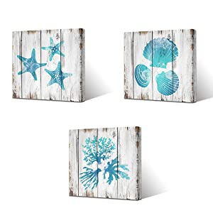 VVOVV Wall Decor Teal Blue Bathroom Wall Decor Seashell Coral Starfish Decor Painting Ocean Sea Pictures Art Print on Canvas Stretched and Framed Ready to Hang (12x12inchx3pieces)