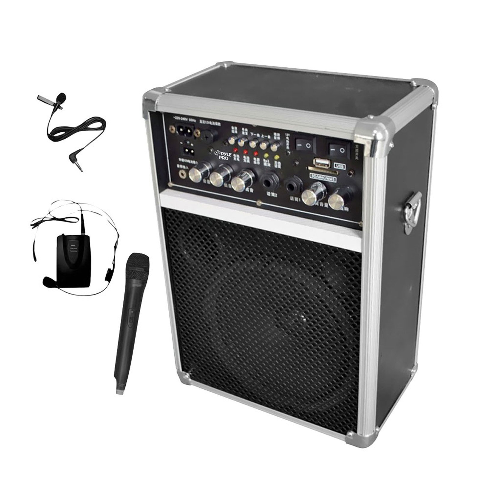 SOUND AROUND-PYLE INDUSTRIES PWMA170 Dual Channel 400 Watt Wireless PA System with USB-SD-MP3 2 VHF Wireless Microphones