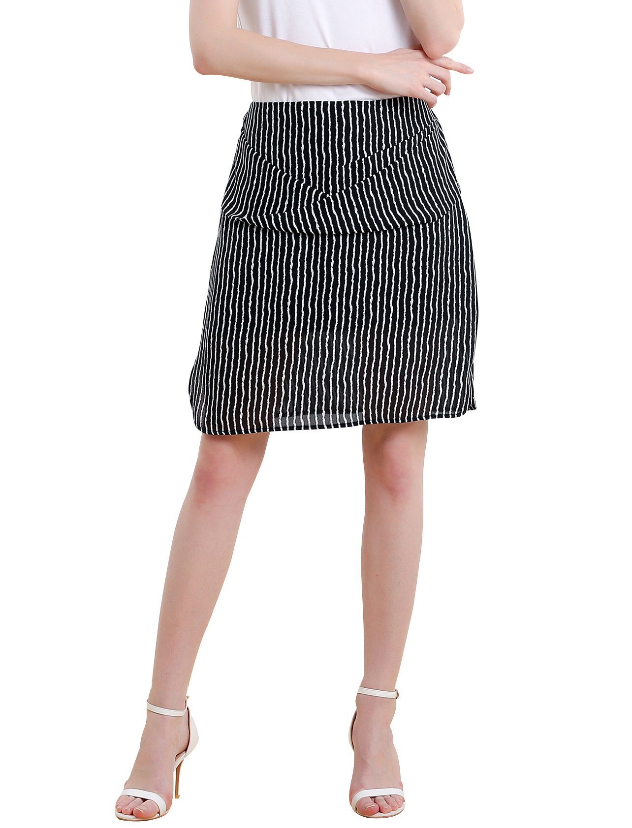 Women Striped Split Mini Skirt Crossed Front Casual A-line Skirt with Zipper XL by Vero Viva (Image #1)