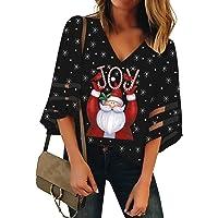 Vetinee Women's 3/4 Bell Sleeve Shirt Mesh Panel Bouse V Neck Casual Loose Tops