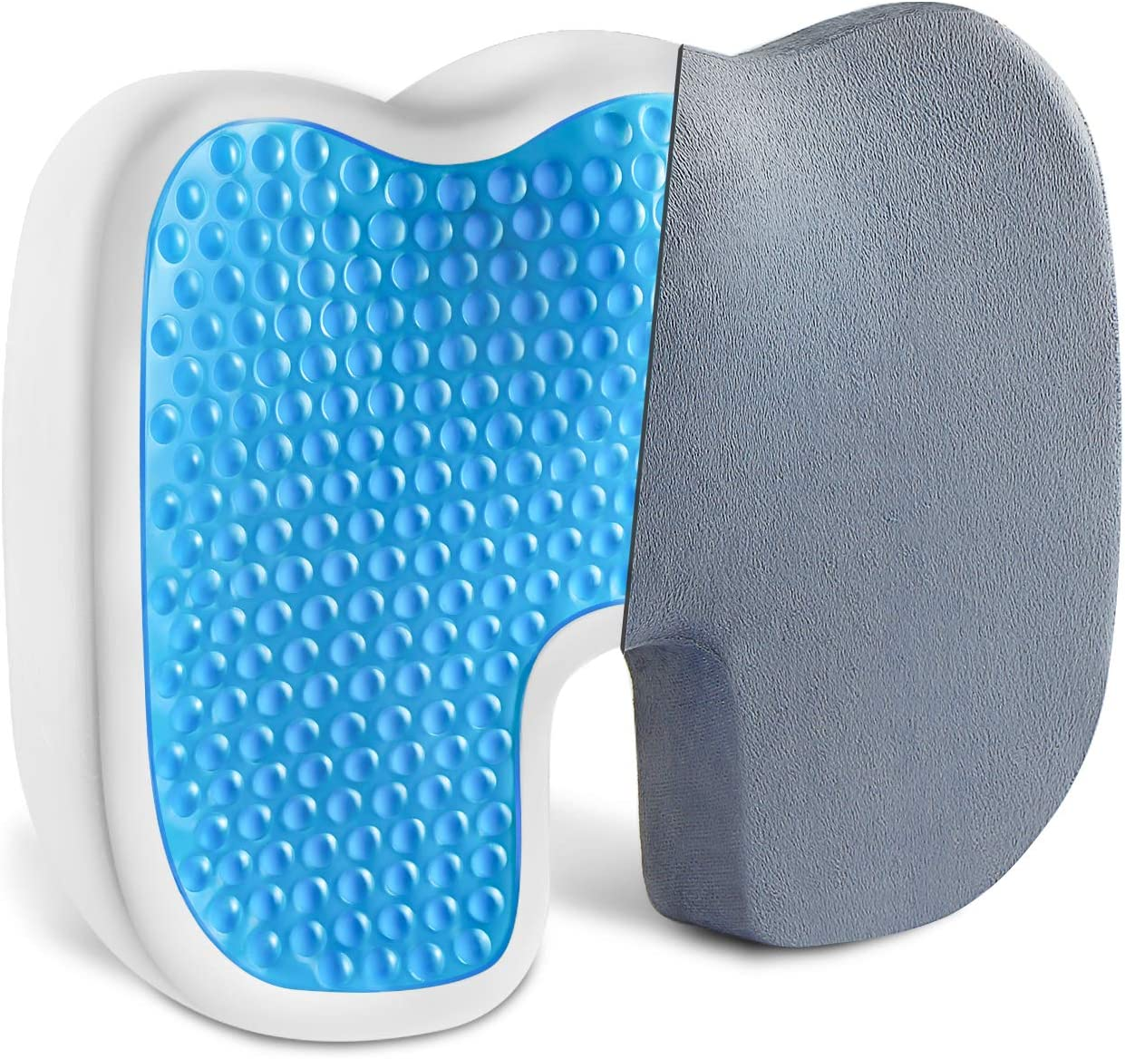 Vanspace Comfort Gel Enhanced Seat Cushion Non-Slip Coccyx Orthopedic Memory Foam Seat Cushion Chair Pillow for Office Chair Car Wheelchair Airplane Seat - Back & Tailbone & Sciatica Pain Relief