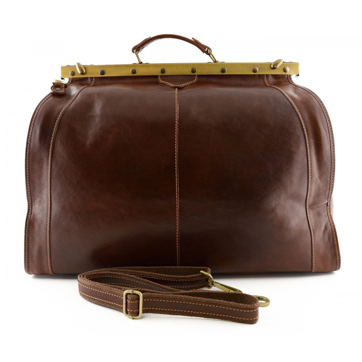 Made In Italy Genuine Leather Travel Bag With Metal Closure Color Brown - Travel Bag B017IBKOF4