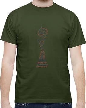 Nosotros fútbol mundo campeones hombres camiseta, verde militar, Verde(Military Green)
