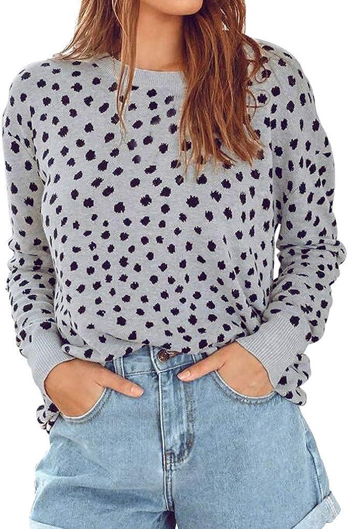 LOPILY Ladies Polka Dot Pullover Tops Women's Leopard Sweatshirt Scoop Neck Long Sleeve Jumpers Blouse Top