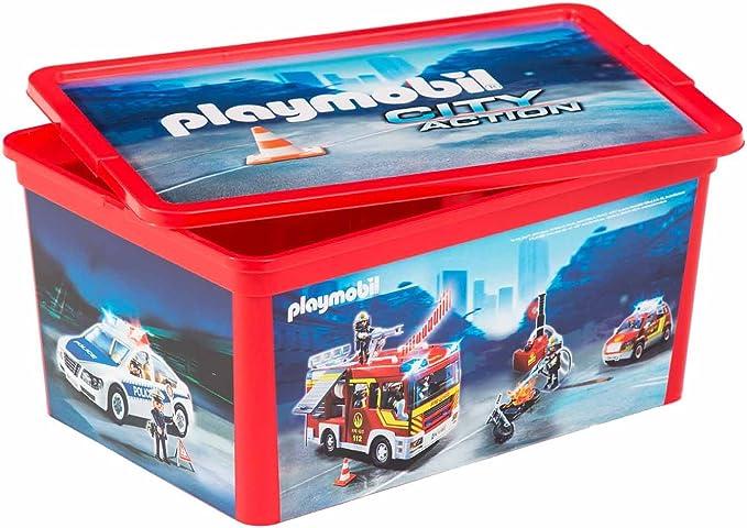 PLAYMOBIL Caja de Rangement-Les pompiers-12 L, 064745: Amazon.es: Juguetes y juegos
