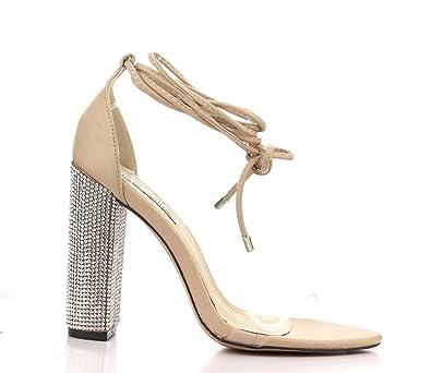 9b30bf9e33 Cape Robbin Fiora-1 Nude Dress Open Toe Clear Tie Up Embellished Rhinestones  Chunky Heels