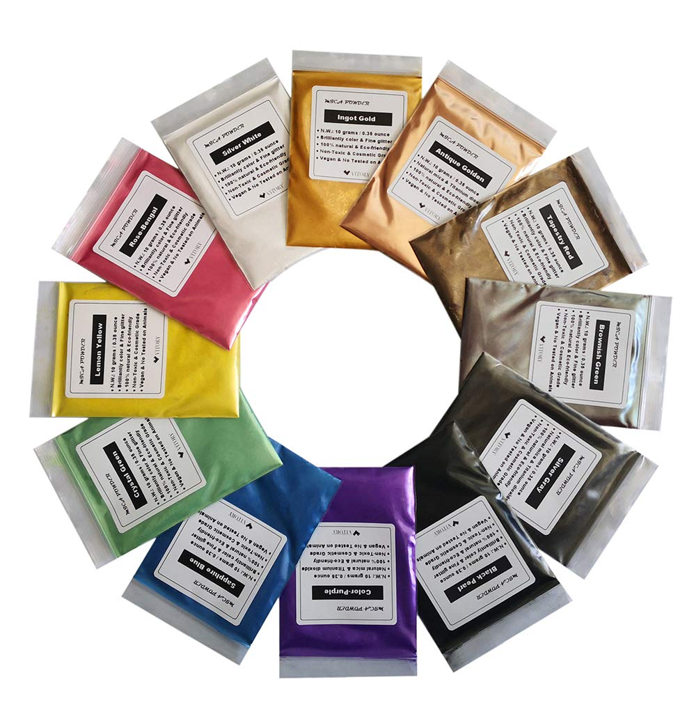 Vitory Pure Mica Powder (12 Colors 10g/0.35oz Each),Brilliant Colorant Pigment Powder Packs (Epoxy, Paint, Soap, Bath Boom, Cosmetic, Slime, Art)- Vitory Pigment Art) - Vitory Pigment