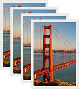 FRAMICS 4 Pack 12x18 Picture Frames, Display 12x18 Photo Without Picture Mat, White Picture Frames Made of Solid Wood for Wall Mounting, Mounting Hardware Included